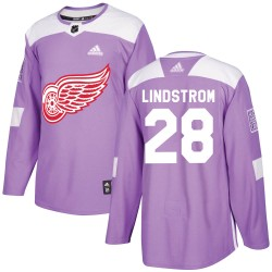 Gustav Lindstrom Detroit Red Wings Youth Adidas Authentic Purple Hockey Fights Cancer Practice Jersey
