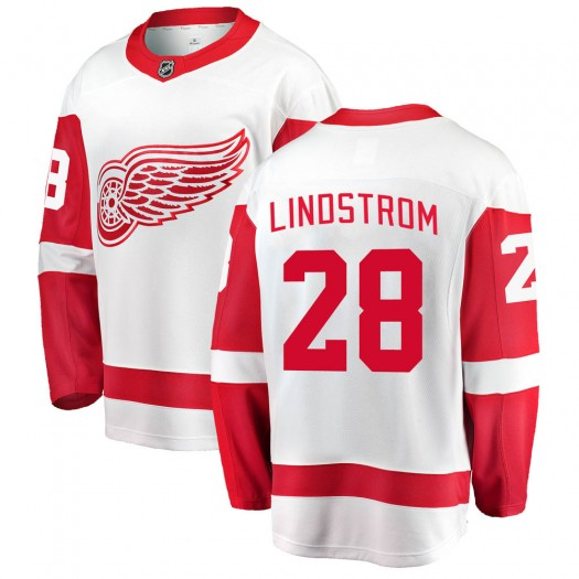 Gustav Lindstrom Detroit Red Wings Youth Fanatics Branded White Breakaway Away Jersey