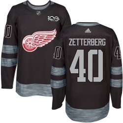 Henrik Zetterberg Detroit Red Wings Men's Adidas Authentic Black 1917-2017 100th Anniversary Jersey