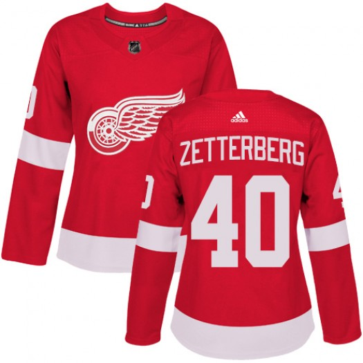 Henrik Zetterberg Detroit Red Wings Women's Adidas Authentic Red Home Jersey