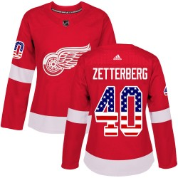Henrik Zetterberg Detroit Red Wings Women's Adidas Authentic Red USA Flag Fashion Jersey
