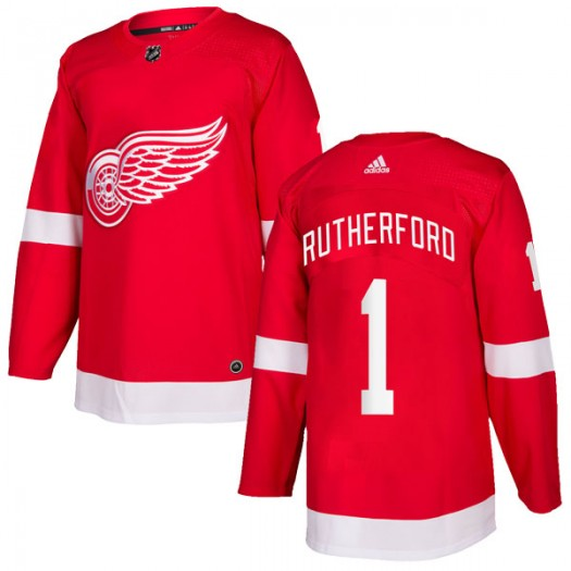 Jim Rutherford Detroit Red Wings Men's Adidas Authentic Red Home Jersey