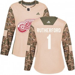 Jim Rutherford Detroit Red Wings Women's Adidas Authentic Camo Veterans Day Practice Jersey