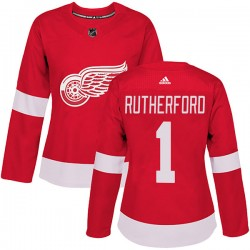 Jim Rutherford Detroit Red Wings Women's Adidas Authentic Red Home Jersey