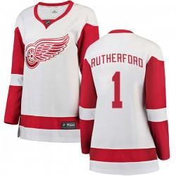 Jim Rutherford Detroit Red Wings Women's Fanatics Branded White Breakaway Away Jersey