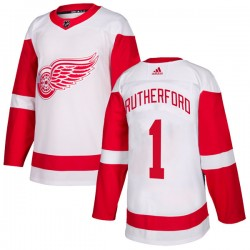 Jim Rutherford Detroit Red Wings Youth Adidas Authentic White Jersey