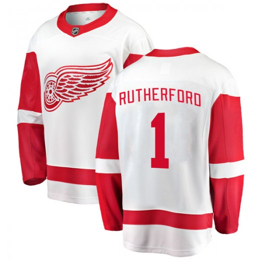 Jim Rutherford Detroit Red Wings Youth Fanatics Branded White Breakaway Away Jersey