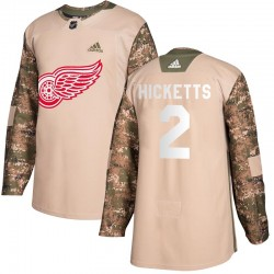 Joe Hicketts Detroit Red Wings Men's Adidas Authentic Camo Veterans Day Practice Jersey