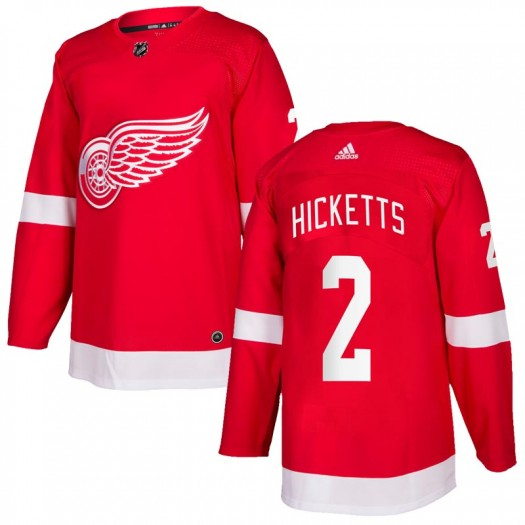 Joe Hicketts Detroit Red Wings Men's Adidas Authentic Red Home Jersey
