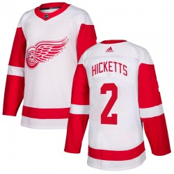 Joe Hicketts Detroit Red Wings Men's Adidas Authentic White Jersey