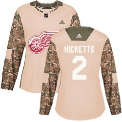 Joe Hicketts Detroit Red Wings Women's Adidas Authentic Camo Veterans Day Practice Jersey