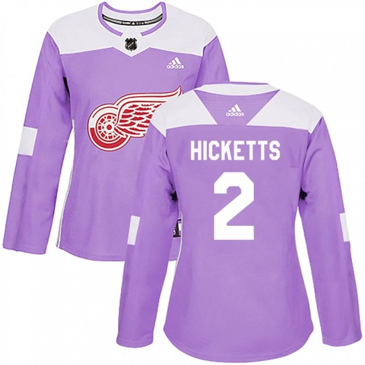 Joe Hicketts Detroit Red Wings Women's Adidas Authentic Purple Hockey Fights Cancer Practice Jersey