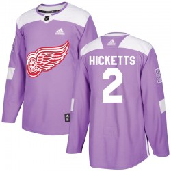 Joe Hicketts Detroit Red Wings Youth Adidas Authentic Purple Hockey Fights Cancer Practice Jersey