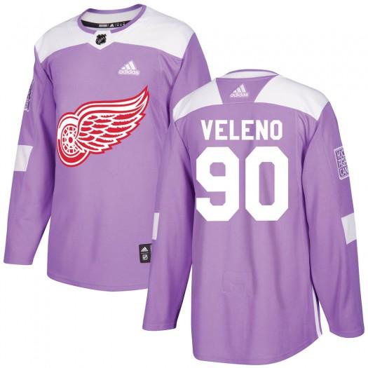 Joe Veleno Detroit Red Wings Men's Adidas Authentic Purple Hockey Fights Cancer Practice Jersey