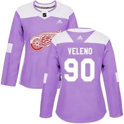 Joe Veleno Detroit Red Wings Women's Adidas Authentic Purple Hockey Fights Cancer Practice Jersey