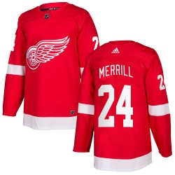 Jon Merrill Detroit Red Wings Men's Adidas Authentic Red Home Jersey