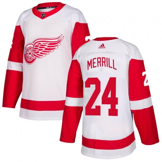 Jon Merrill Detroit Red Wings Men's Adidas Authentic White Jersey