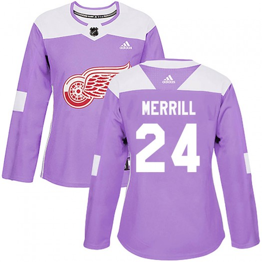 Jon Merrill Detroit Red Wings Women's Adidas Authentic Purple Hockey Fights Cancer Practice Jersey