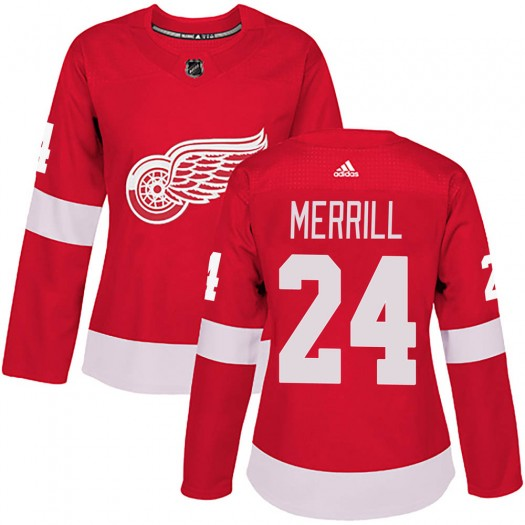 Jon Merrill Detroit Red Wings Women's Adidas Authentic Red Home Jersey