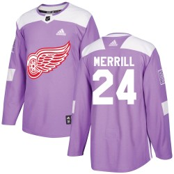 Jon Merrill Detroit Red Wings Youth Adidas Authentic Purple Hockey Fights Cancer Practice Jersey