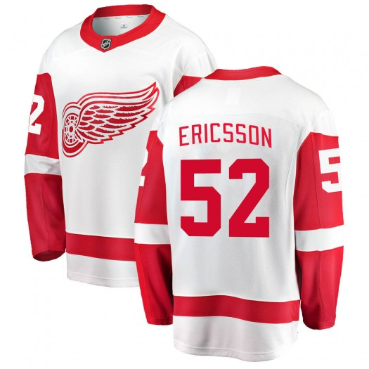 Jonathan Ericsson Detroit Red Wings Youth Fanatics Branded White Breakaway Away Jersey