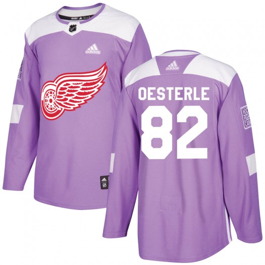 Jordan Oesterle Detroit Red Wings Men's Adidas Authentic Purple Hockey Fights Cancer Practice Jersey
