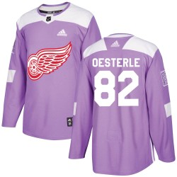 Jordan Oesterle Detroit Red Wings Youth Adidas Authentic Purple Hockey Fights Cancer Practice Jersey