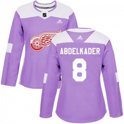Justin Abdelkader Detroit Red Wings Women's Adidas Authentic Purple Hockey Fights Cancer Practice Jersey