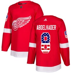 Justin Abdelkader Detroit Red Wings Youth Adidas Authentic Red USA Flag Fashion Jersey
