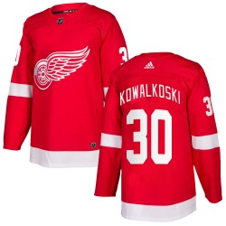 Justin Kowalkoski Detroit Red Wings Youth Adidas Authentic Red Home Jersey