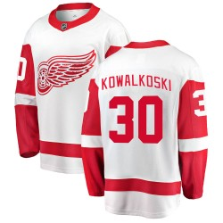 Justin Kowalkoski Detroit Red Wings Youth Fanatics Branded White Breakaway Away Jersey