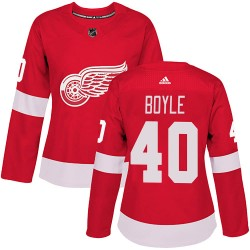 Kevin Boyle Detroit Red Wings Women's Adidas Authentic Red Home Jersey