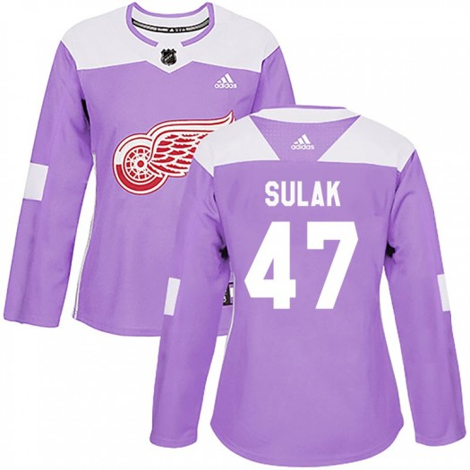 Libor Sulak Detroit Red Wings Women's Adidas Authentic Purple Hockey Fights Cancer Practice Jersey