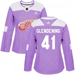 Luke Glendening Detroit Red Wings Women's Adidas Authentic Purple Hockey Fights Cancer Practice Jersey