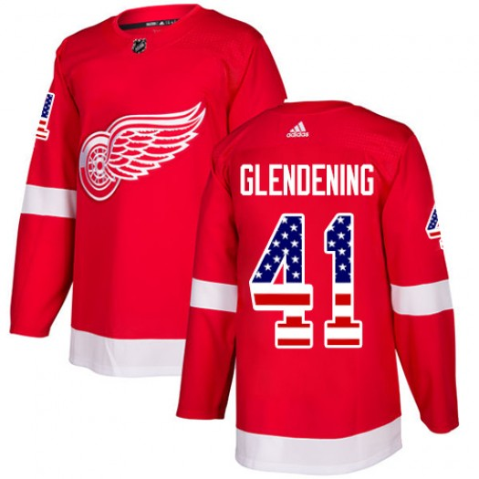 Luke Glendening Detroit Red Wings Youth Adidas Authentic Red USA Flag Fashion Jersey