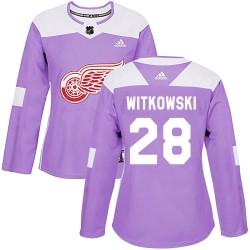 Luke Witkowski Detroit Red Wings Women's Adidas Authentic Purple Hockey Fights Cancer Practice Jersey