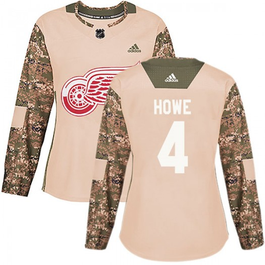 Mark Howe Detroit Red Wings Women's Adidas Authentic Camo Veterans Day Practice Jersey