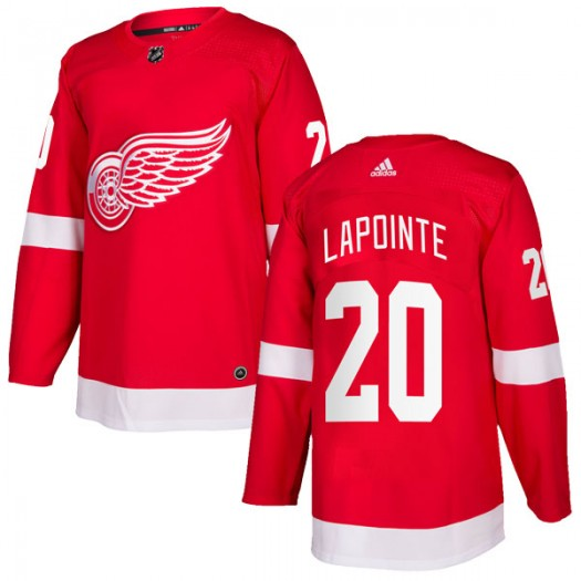 Martin Lapointe Detroit Red Wings Men's Adidas Authentic Red Home Jersey