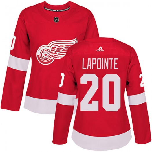 Martin Lapointe Detroit Red Wings Women's Adidas Authentic Red Home Jersey