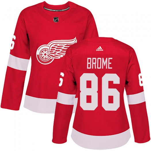 Mathias Brome Detroit Red Wings Women's Adidas Authentic Red Home Jersey