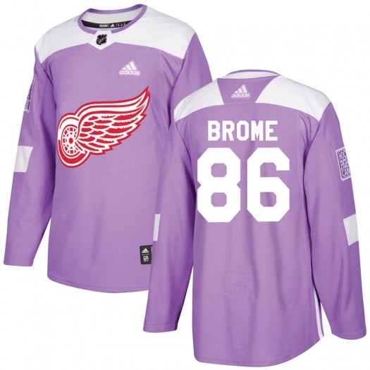 Mathias Brome Detroit Red Wings Youth Adidas Authentic Purple Hockey Fights Cancer Practice Jersey
