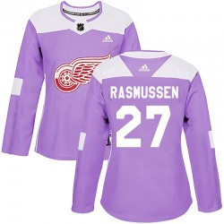 Michael Rasmussen Detroit Red Wings Women's Adidas Authentic Purple Hockey Fights Cancer Practice Jersey