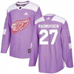 Michael Rasmussen Detroit Red Wings Youth Adidas Authentic Purple Hockey Fights Cancer Practice Jersey