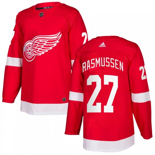Michael Rasmussen Detroit Red Wings Youth Adidas Authentic Red Home Jersey