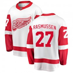 Michael Rasmussen Detroit Red Wings Youth Fanatics Branded White Breakaway Away Jersey