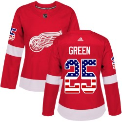 Mike Green Detroit Red Wings Women's Adidas Authentic Green Red USA Flag Fashion Jersey