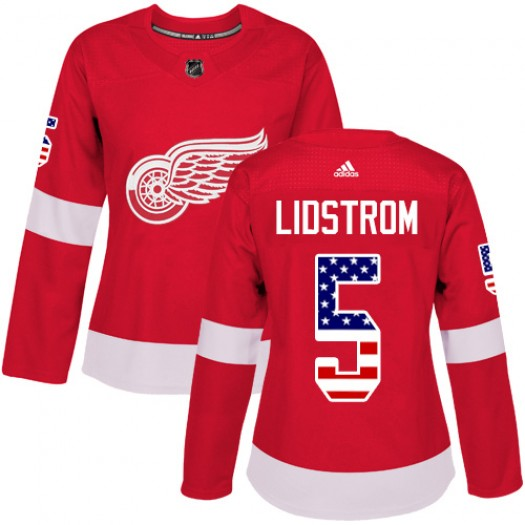 Nicklas Lidstrom Detroit Red Wings Women's Adidas Authentic Red USA Flag Fashion Jersey