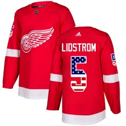 Nicklas Lidstrom Detroit Red Wings Youth Adidas Authentic Red USA Flag Fashion Jersey