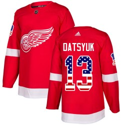 Pavel Datsyuk Detroit Red Wings Youth Adidas Authentic Red USA Flag Fashion Jersey