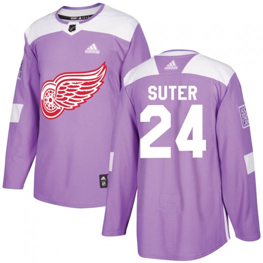 Pius Suter Detroit Red Wings Men's Adidas Authentic Purple Hockey Fights Cancer Practice Jersey